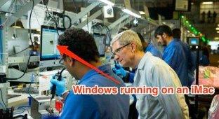 Тим Кук сфотографировался на фоне iMac с запущенной Windows